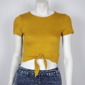 Ambiance apparel Women's Crop top Tie Up Mustard